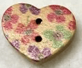 Heart Shaped Printed Wooden Buttons